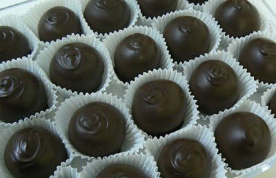 The Whale's Tail Candy & Gift truffles covered in dark chocolate